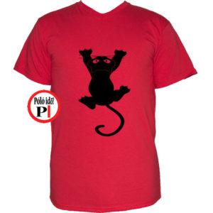 macska póló fal macska piros