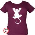 macska póló fal macska női burgundi