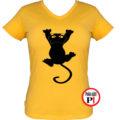 macska póló fal macska női citrom