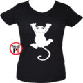 macska póló fal macska női fekete