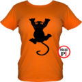 macska póló fal macska női narancs