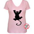 macska póló fal macska női pink