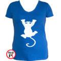 macska póló fal macska női kék