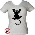 macska póló fal macska női szürke