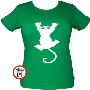 macska póló fal macska női zöld