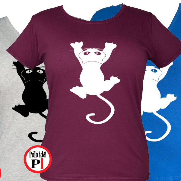 macska póló fal macska női