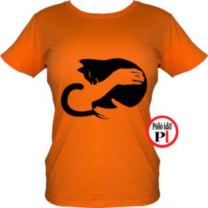 macska póló kar női narancs