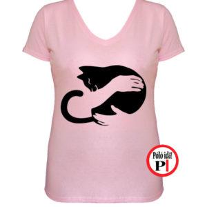 macska póló kar női pink