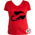 macska póló kar női piros