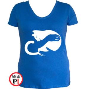 macska póló kar női kék