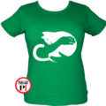 macska póló kar női zöld
