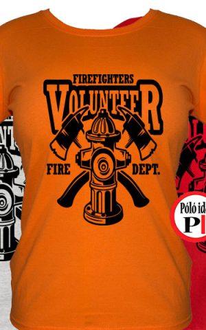 tűzoltó póló volunteer női