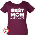 anya póló best mom world burgundi
