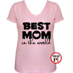 anya póló best mom world pink