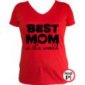 anya póló best mom world piros