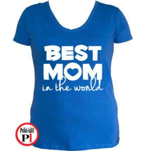 anya póló best mom world kék