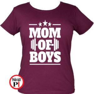 anya póló mom of boys burgundi
