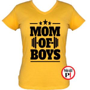 anya póló mom of boys citrom