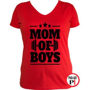 anya póló mom of boys piros