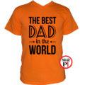 apa póló best dad world narancs