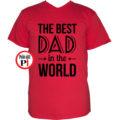 apa póló best dad world piros