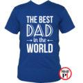 apa póló best dad world kék