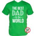 apa póló best dad world zöld