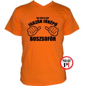 busz póló jóképű narancs