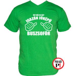 busz póló jóképű zöld