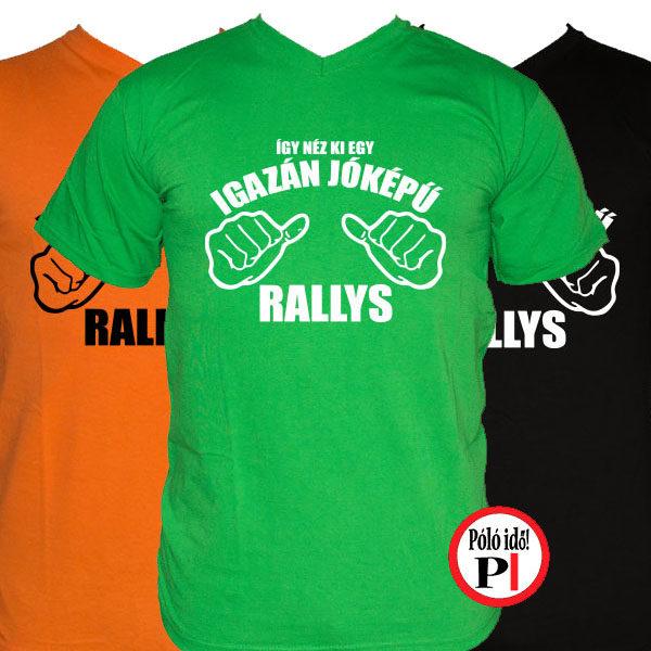 rally póló jóképű