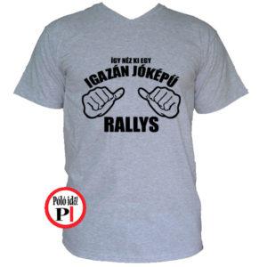 rally póló jóképű szürke