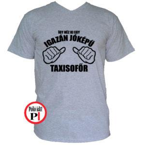 taxi póló jóképű szürke