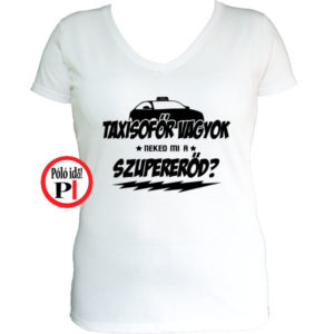 taxi póló szupererő női fehér