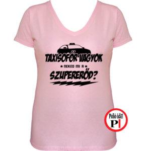 taxi póló szupererő női pink
