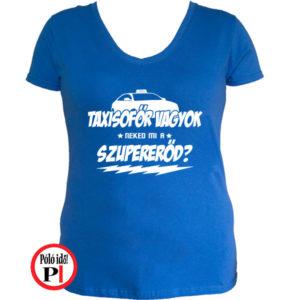 taxi póló szupererő női kék