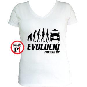 taxi póló taxi evolúció női fehér