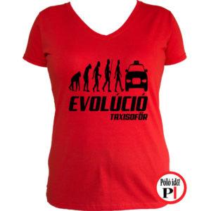 taxi póló taxi evolúció női piros