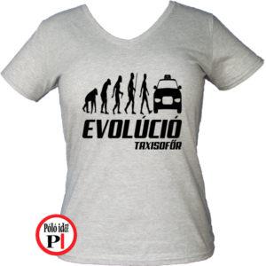 taxi póló taxi evolúció női szürke