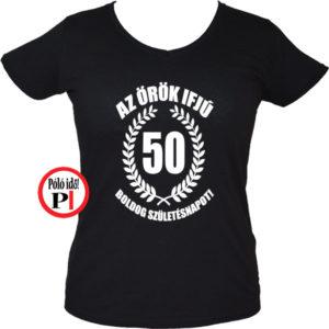 vicces póló örök ifjú 50 női fekete