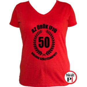 vicces póló örök ifjú 50 női piros
