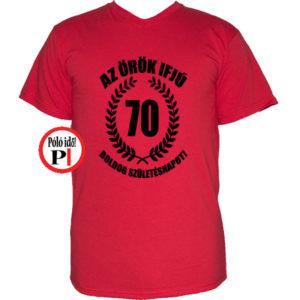 vicces póló örök ifjú 70 piros