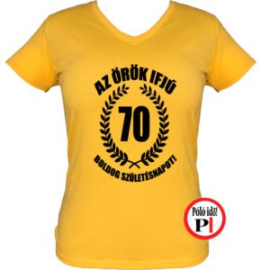 vicces póló örök ifjú 70 női citrom