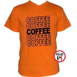 kávé póló coffee narancs