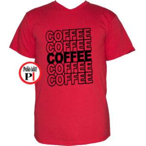 kávé póló coffee piros