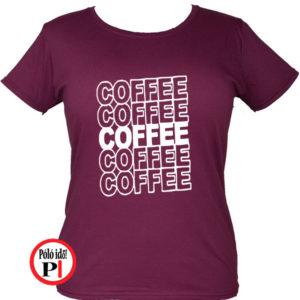 kávé póló coffee női burgundi