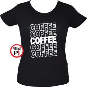 kávé póló coffee női fekete