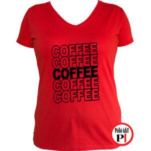 kávé póló coffee női piros