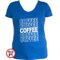 kávé póló coffee női kék
