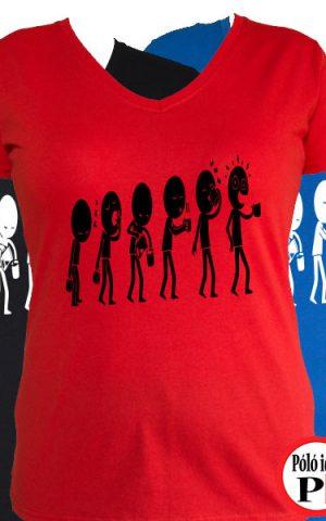 kávé póló evolúció női