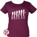 kávé póló evolúció női burgundi